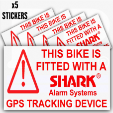 5 x Bicycle Security Stickers-GPS Tracker-Tracking Device-Warning-Mountain,Racing,Bike,Cycling,Motorbike,Motorcycle,BMX-Shark Alarm Systems